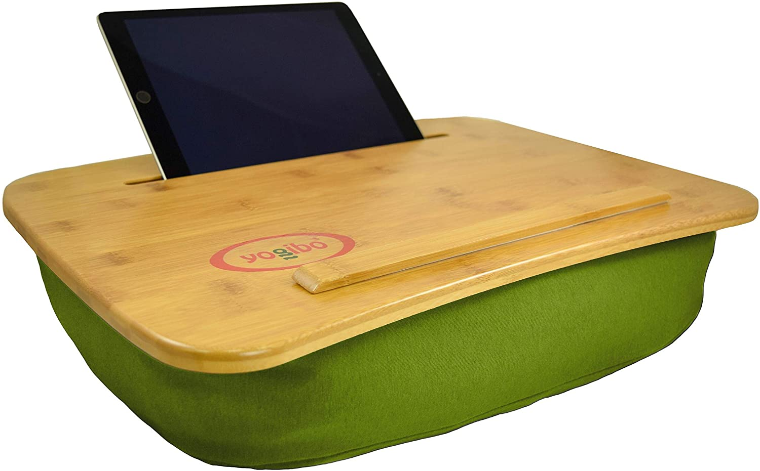 Yogibo Traybo 2.0 Lap Desk, Bamboo Top Lap Desk With Pillow for Laptop Built in Slot for Tablet or Phone, Lap Pad for Working, Reading, Writing, Lap Board, Green