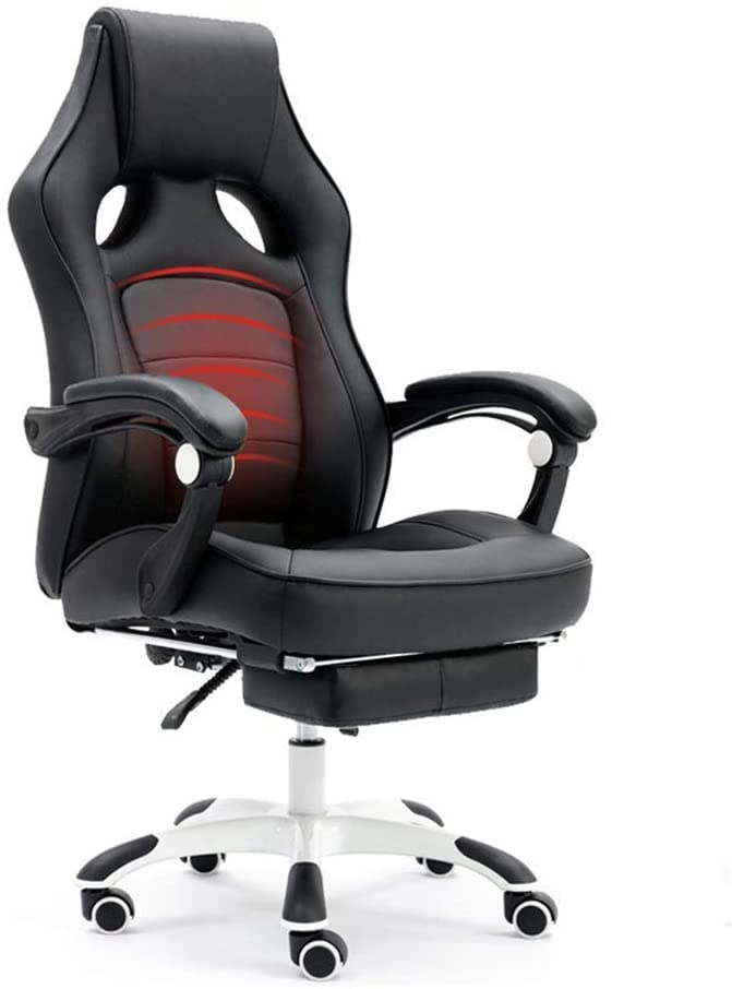CAIS Chair Comfortable Pu Chair, Office Swivel Chair Computer Chair Conference Chair Reception Chair Hotel Chair E-Sports Chair Bank Chair Business Chair Armchair,Black