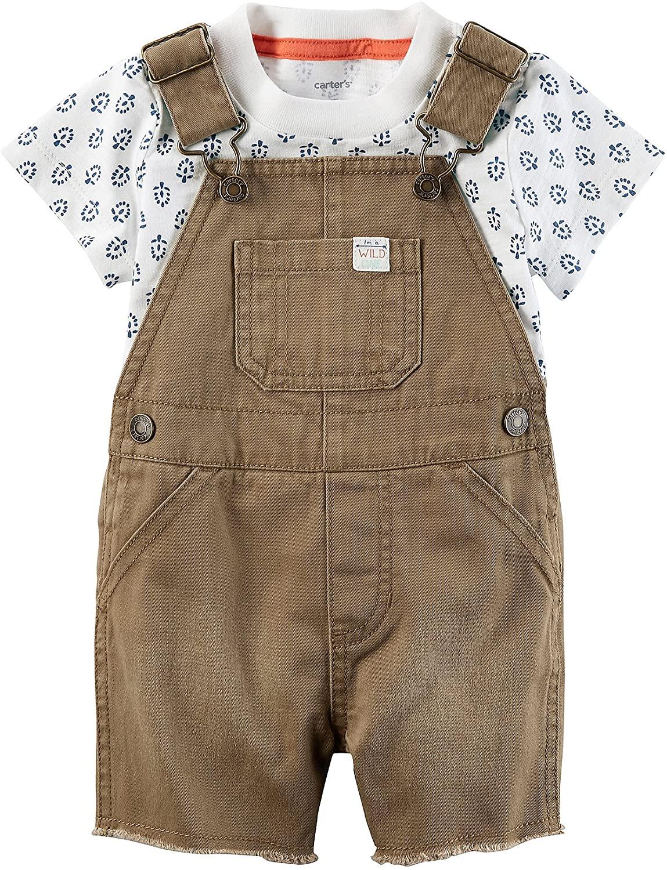 Carter's Baby Boys' 2 Piece Tee and Shortalls Set 18 Months Brown