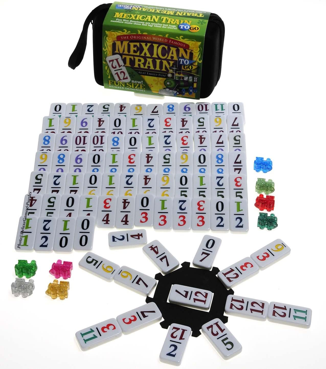 Deluxe Games and Puzzles Mexican Train Double 12 Dominoes _ Travel Size _with Colored Numbers