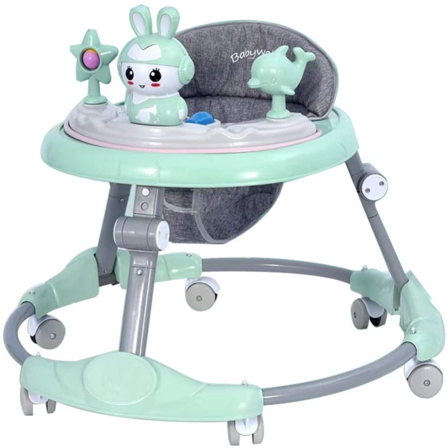 ZJHTK Baby Walker, Adjustable Baby Walkers for Baby with Easy Clean Tray, Anti-Rollover Folding Walker for Boys and Girls 6-18 Months Toddler, Multiple Modes, Music&Toy Plate