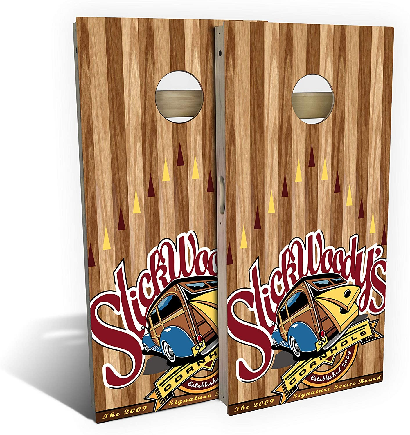 Slick WOODYS Signature Cornhole Set with 8 Cornhole Bags, Baltic Birch Plywood Tops for The Smoothest Flattest Playing Surface, Retractable Legs and Back Bounce Brace