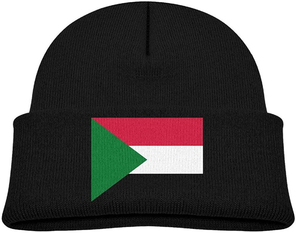 lead-do Baby Boys Girls Flag of Sudan Kint Beanie Hats Toddler & Kids Winter Warm Kinted Caps(2-6T)