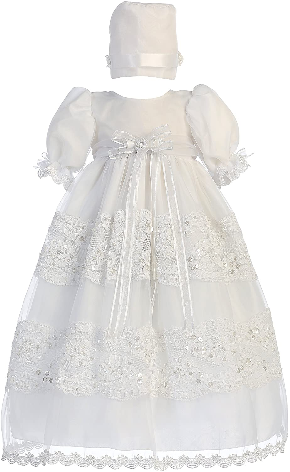 Baby Girl White Organza with Lace Trim Gown Christening Baptism Hat Set