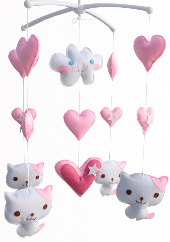 White Pink Cats Handmade Baby Crib Mobile Nursery Decor Musical Crib Mobile Boys Girls