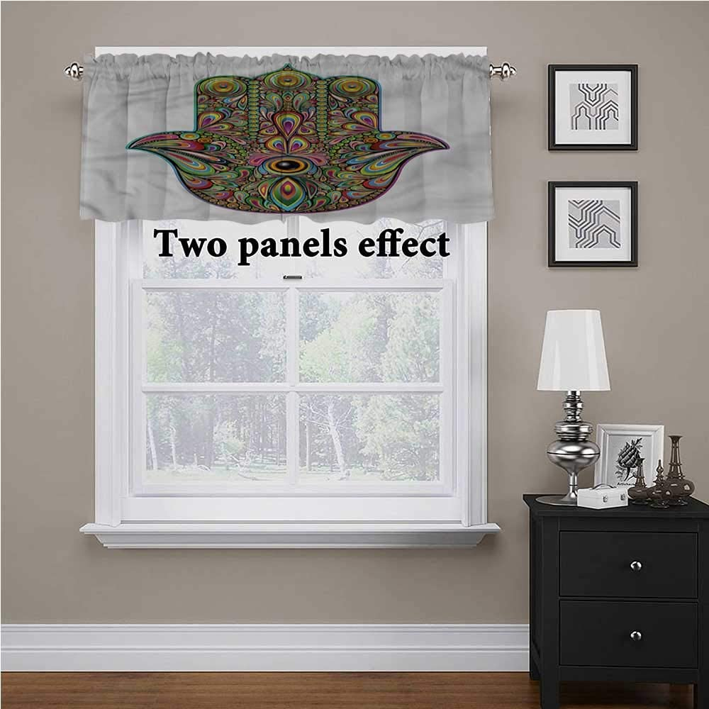 shirlyhome Hamsa valances for Windows Psychedelic Groovy Pattern for Kids Room/Baby Nursery/Dormitory, 60 Inch by 18 Inch 1 Panel