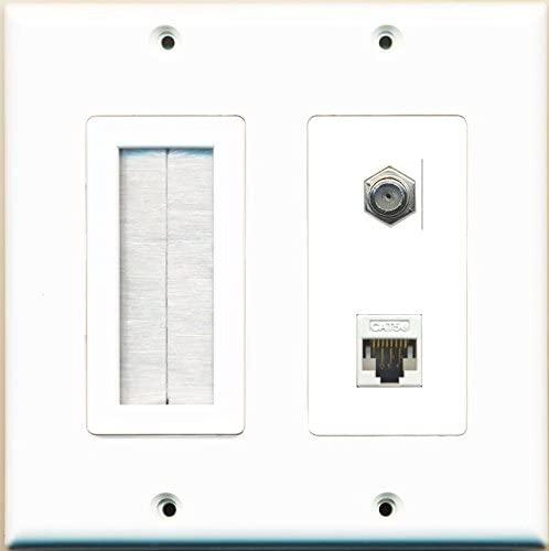 RiteAV Brush Coax Cat5E Wall Plate White