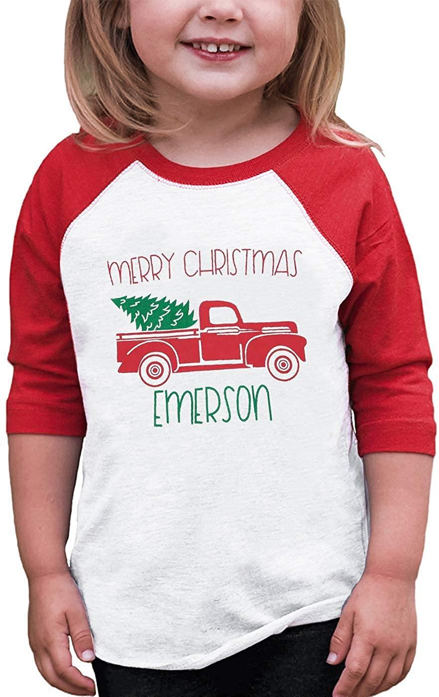 Toddler Baby Boy Girl Merry Christmas Emerson Tshirt Christams Truck Tree Tee Tops Cute Raglan Sleeve Shirts