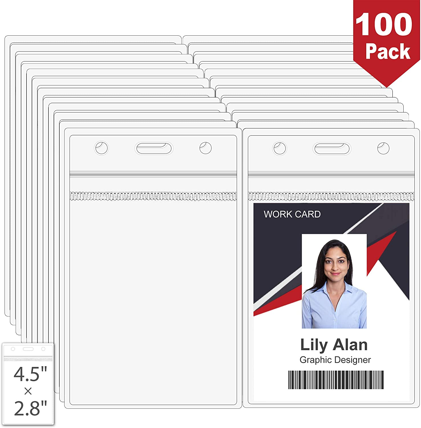 """100PCS Vertical ID Card Name Badge Holders, 4.5""""x2.8"""" Clear Plastic Vinyl PVC Heavy Duty Card Holder with Waterproof Resealable Zip Type Fits RFID/Proximity/Badge Swipe Cards/Credit Card"""