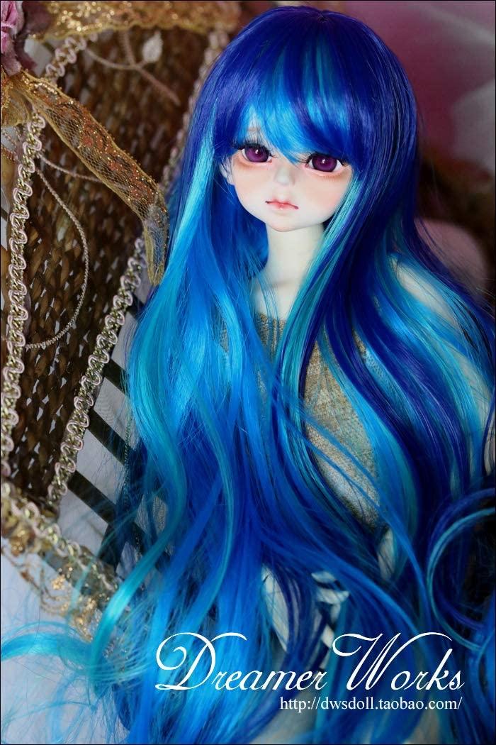 (22-24cm) 1/3 BJD Doll SD Fur Wig Dollfie / Blue Gradient/ Long Curling Hair / 091-A