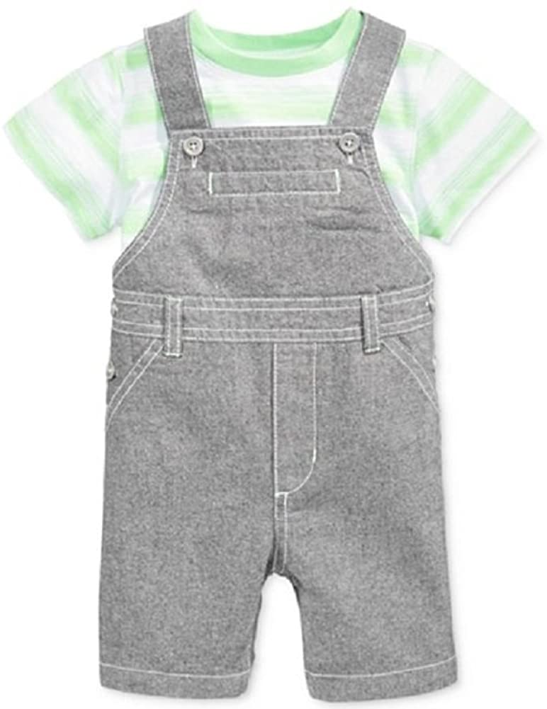 First Impressions Baby Boys' 2-Piece Stripped Tee & Shortalls Set Green/Grey