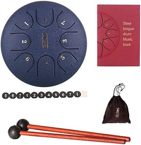 QIENON Mini 6 Inch 8-Tone Steel Tongue Drum Metal Lotus Drum Sanskrit Drum Percussion Instrument Hand Pan Drum with Padded Travel Bag & Drumstick 110 (Color : B)