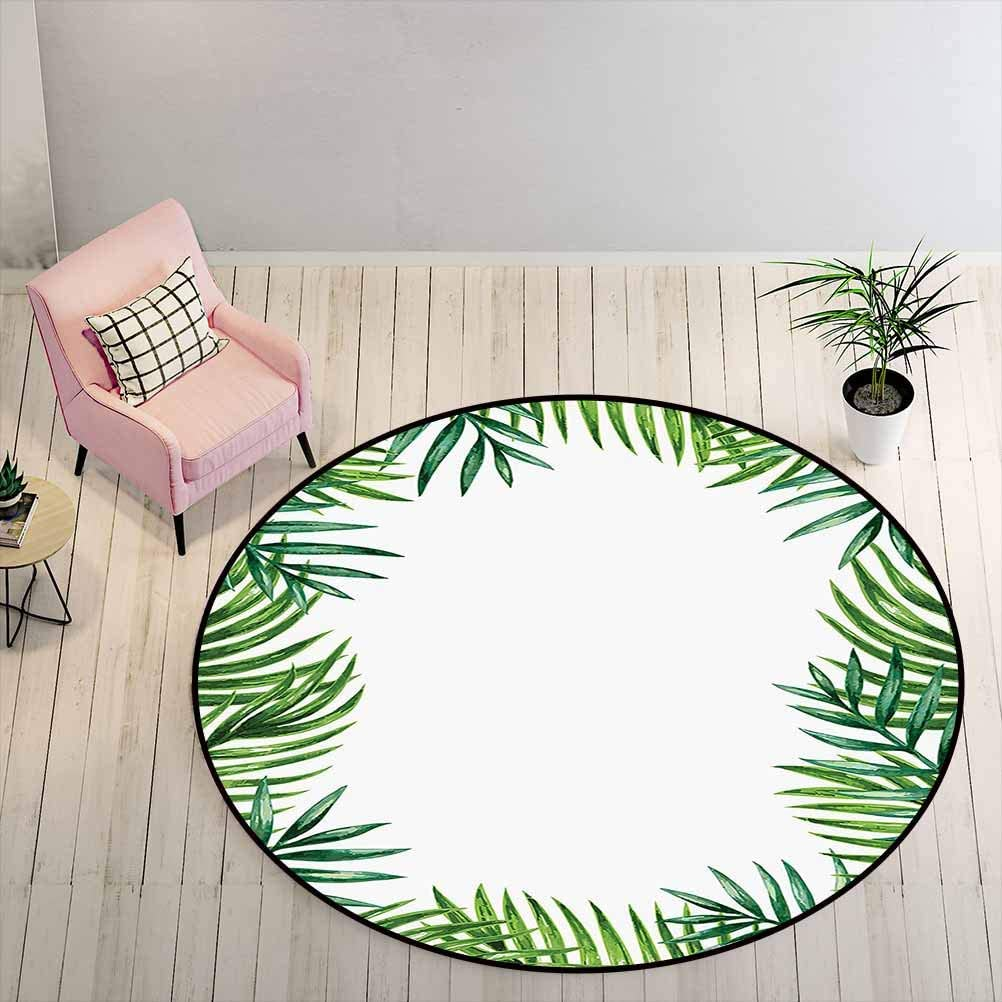 Kids Rugs for Bedroom Girls 2 ft Round - Green Leaf Absorb Water Rug Frame with Fresh Leaves Botanical Natural Artwork Environment Forest, Jade Green Lime Green