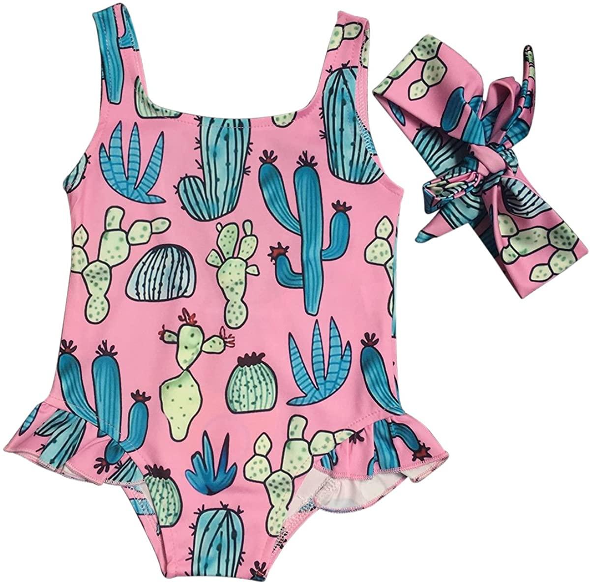 Infant Toddler Baby Girl Cactus Print One Piece Beachwear Swimsuit + Headband