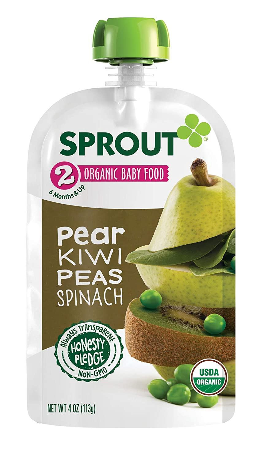 Sprout Organic Stage 2 Baby Food Pouches, Pear Kiwi Peas Spinach, 4 Ounce (Pack of 10)