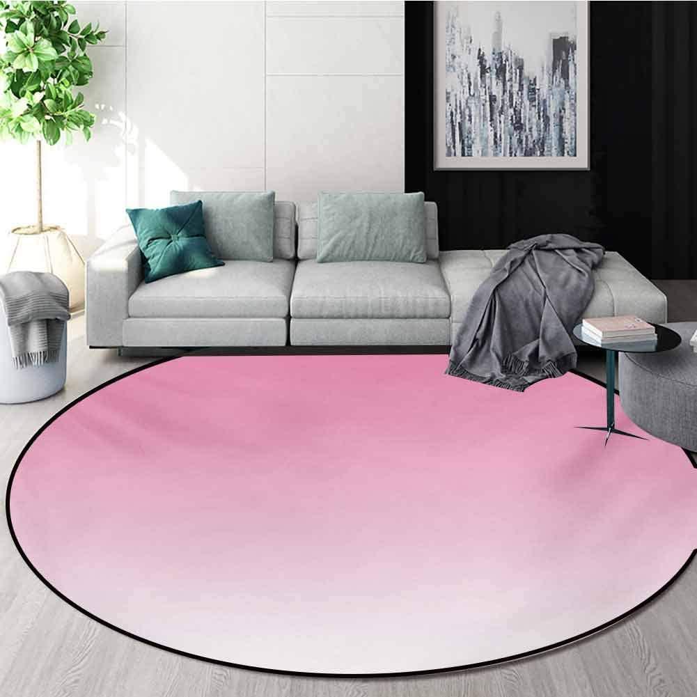 RUGSMAT Ombre Modern Washable Round Bath Mat,Dreamy Pale Pink Waterfall Cotton Candy Inspired Modern Digital Print Girls Artwork Non-Slip Bathroom Soft Floor Mat Home Decor,Round-24 Inch