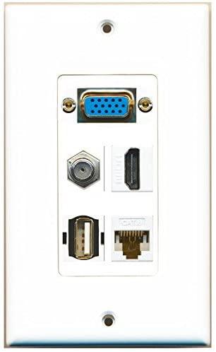 RiteAV SVGA HDMI Coax Cat6 White USB A-A Wall Plate 1 Gang White