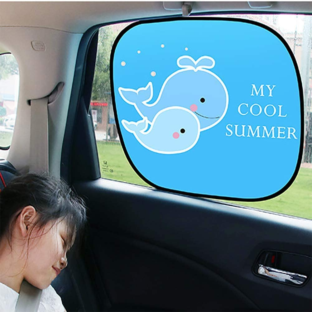JINGBO Car Window Shade,2PCS Cute Style Child Baby Pet Easy Install UV Protection,Side Window Sunshades Whale, Beach, Orange, Kiwi