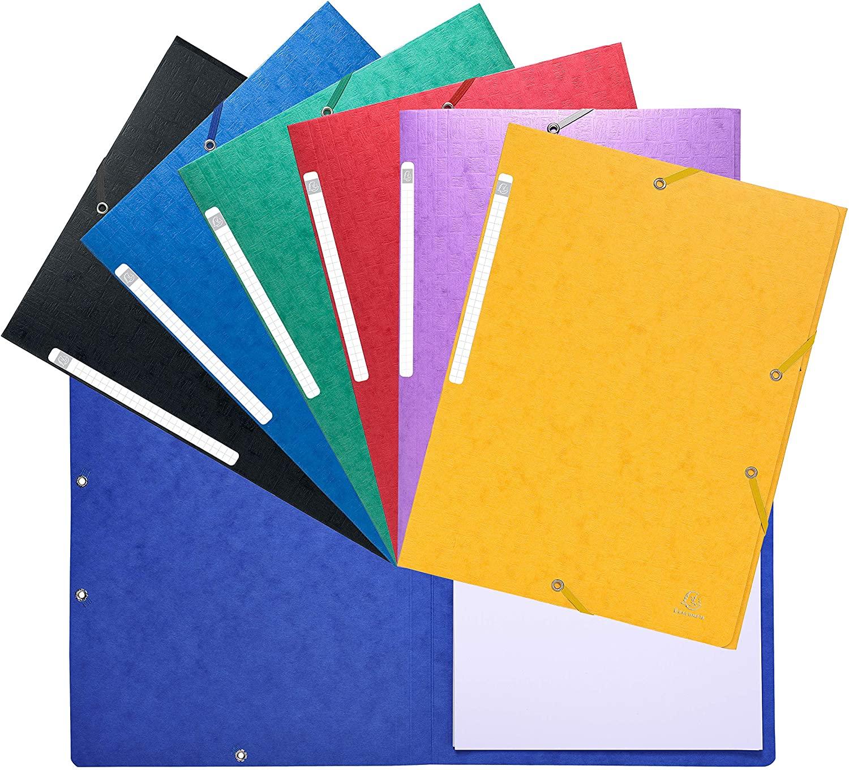 Exacompta 5590E–Pack of 20Folders with Elastic Band, Multi-Coloured