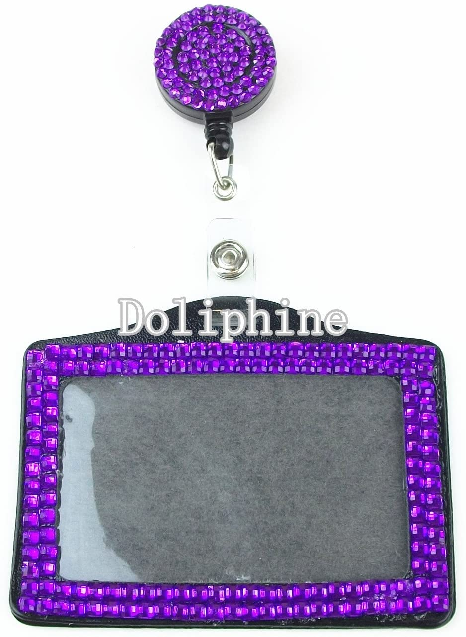 Bling Multi-Colors Crystal Rhinestone Retractable Reel with Horizontal ID Badge Holder (19 Colors for choice) (Purple)
