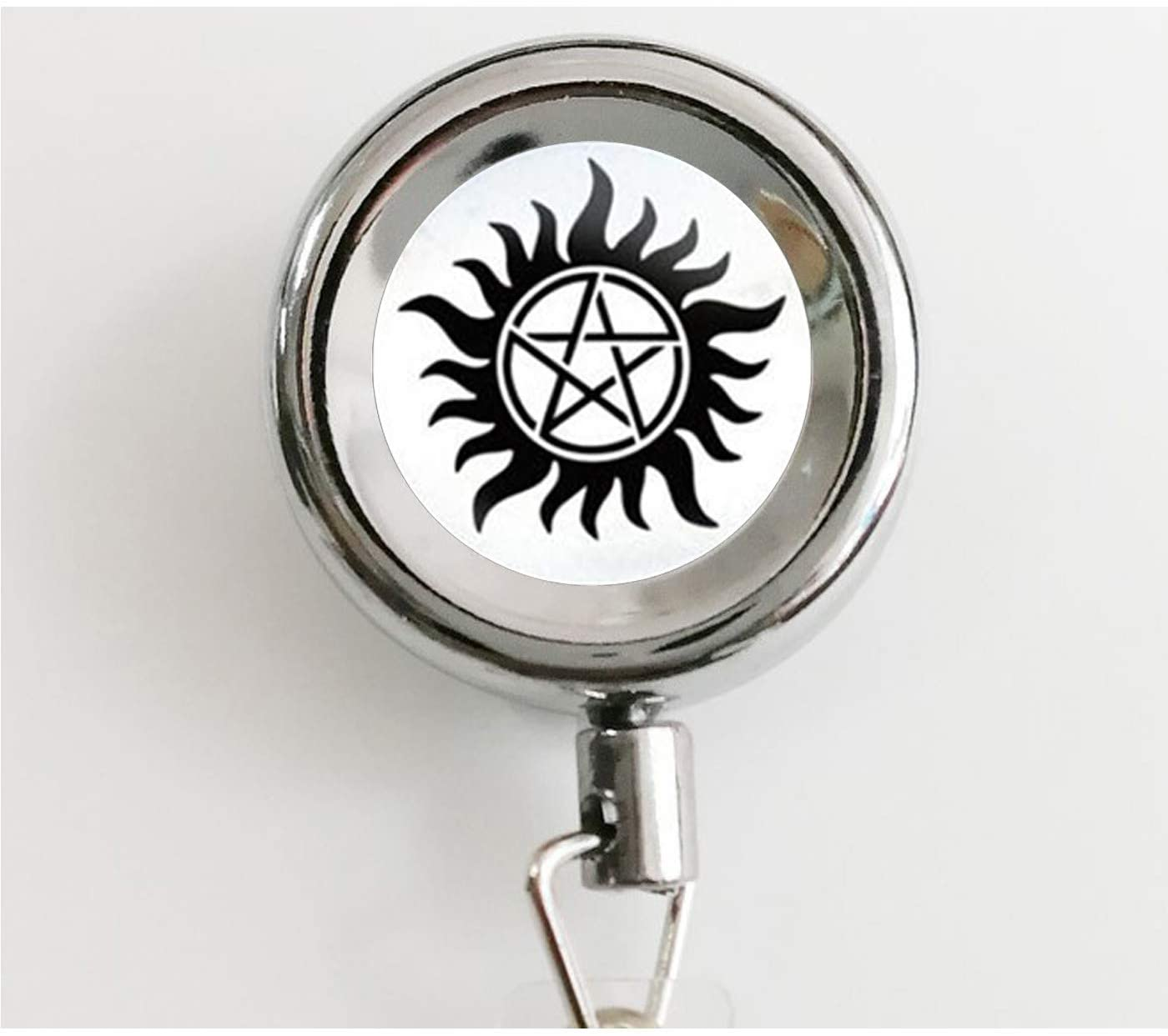 Supernatural Sam Jewelry Glass Dome 1 Key Necklace jewelry Retractable Badge Holder Reel with Waterproof ID Holders & Keychain