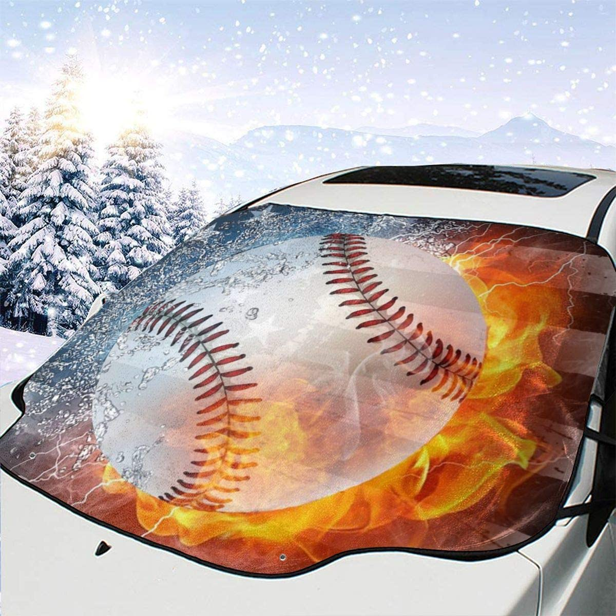 THONFIRE Car Front Window Windshield Snow Sun Shades American Fire Baseball Cover Rainproof Blocks Heat Keeps Your Vehicle Cool Visor Protector Trucks Autumn Heatshield
