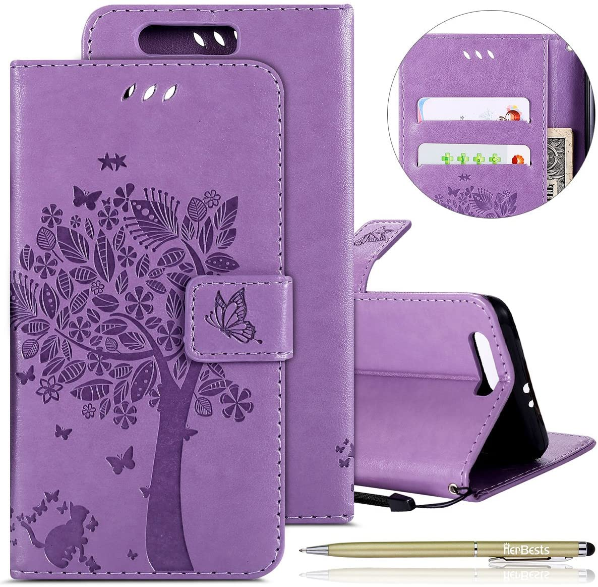 Herbests Compatible with Huawei Honor 9 Wallet Case 3D Embossed Flower Butterfly Tree Cat Flip Leather Case Kickstand Credit Card Wrist Strap Full Body Protective Phone Case,Light Purple