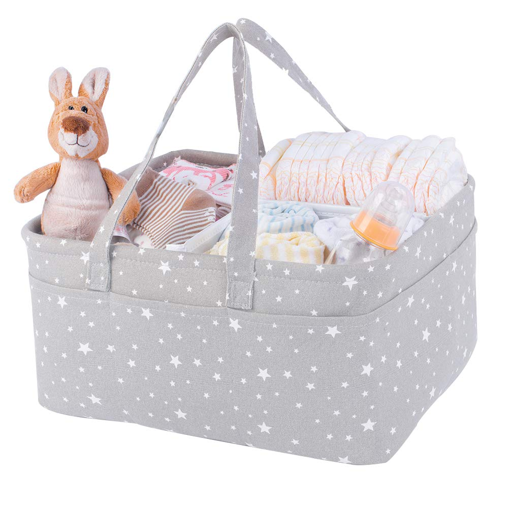 Portable large diaper caddy organizer | basket for gifts empty | Diaper basket organizer | Baby organizer | Baby basket grey