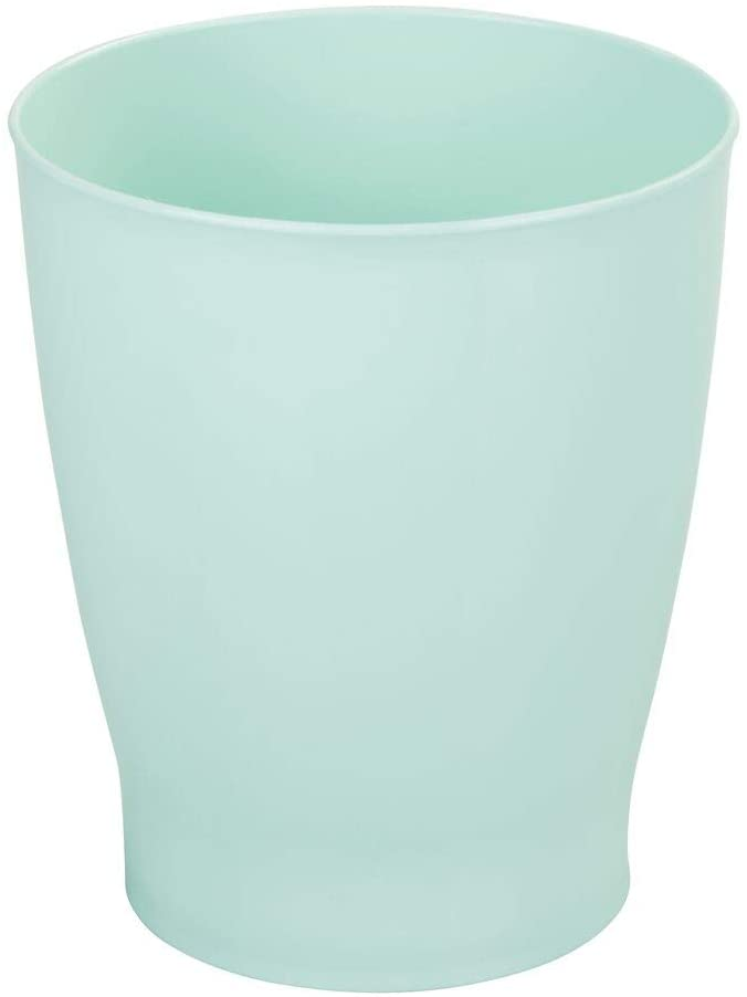 mDesign Slim Round Plastic Small Trash Can Wastebasket, Garbage Container Bin for Bathrooms, Powder Rooms, Kitchens, Home Offices, Kids Rooms - Mint Green