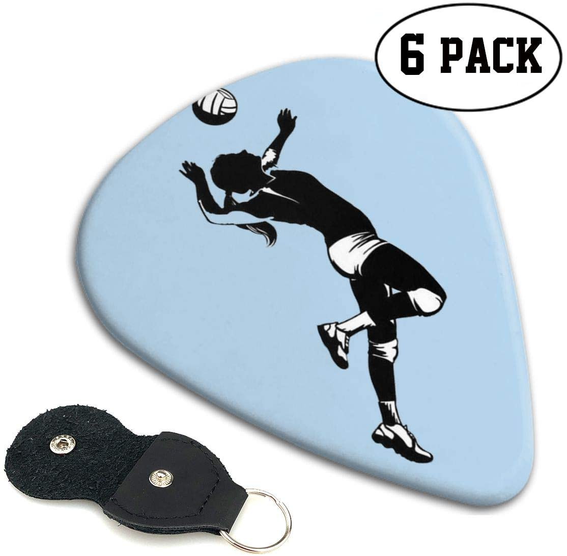 Xzyauza Volleyball Player Celluloid Guitar Picks Premium Picks 6 Pack for Guitar,Mandolin,and Bass 0.46mm, 0.71mm, 0.96mm Optional with PU Leather Pick Holder