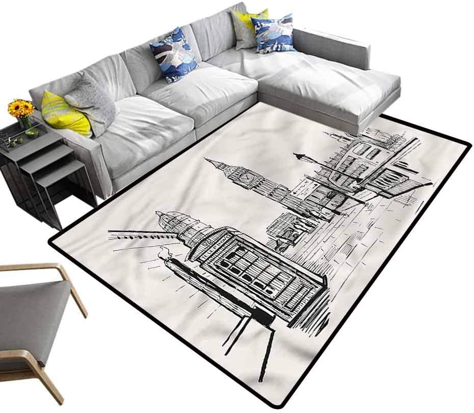 Modern, Soft Carpet London City Big Ben Monument Kids Playing Mat Suitable for Baby Nursery Decor, 5'x 7'