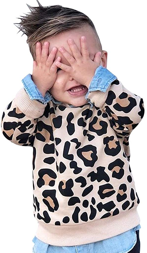 Baby Girl Sweater,Toddler Kids Baby Boy Girl Leopard Print Sweatshirt Long Sleeve T-Shirt Clothes