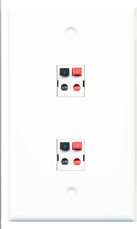 RiteAV - 2 Port Speaker Wall Plate - Bracket Included