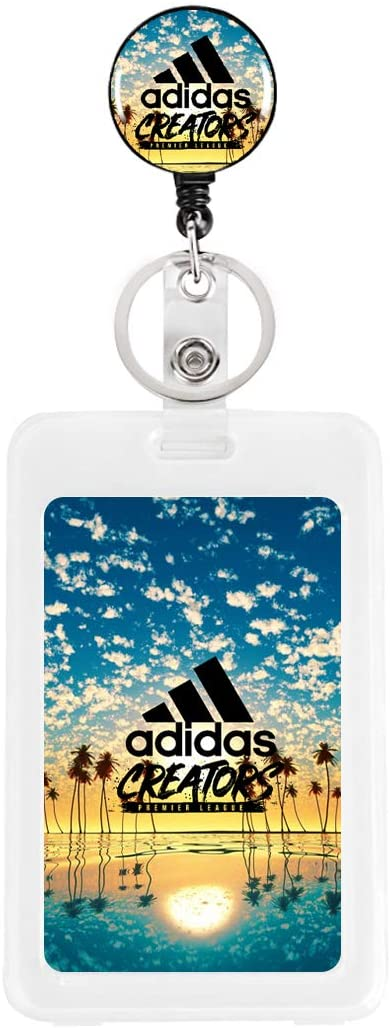 Adidas Palm Trees Reflection Sunset Retractable Keychain Badge Reel Clip with PVC Plastic Business ID Badge Card Holder