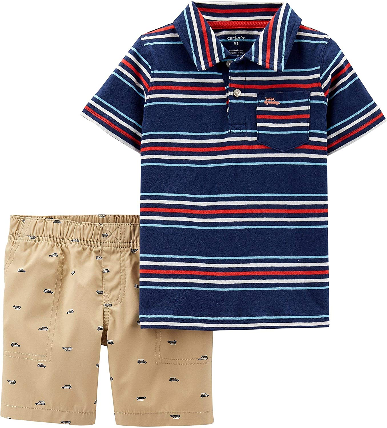 Carter's Baby Boys Striped Beach Wagon Shorts Set 18 Months Navy Blue Multi