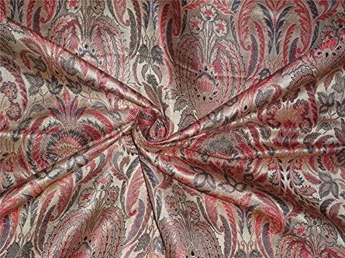 silk brocade fabric red ,blue and mettalic gold BRO542[4]