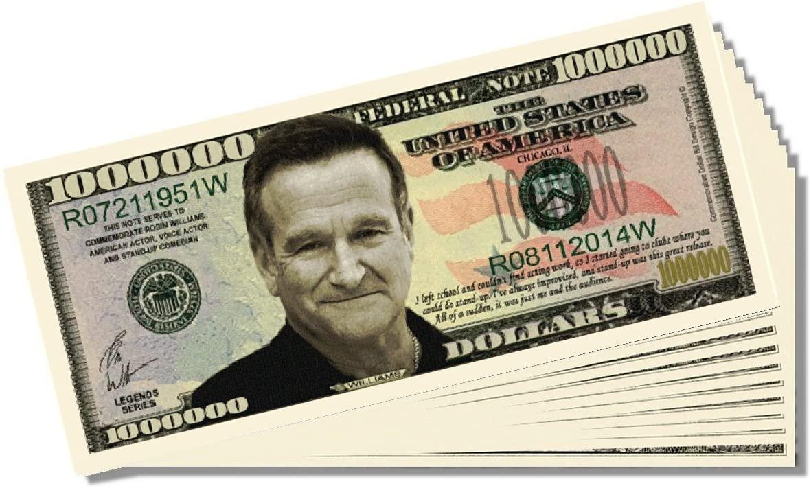Robin Williams Novelty Million Dollar Bill - Set of 100 with 1 Bonus Christopher Columbus Bill