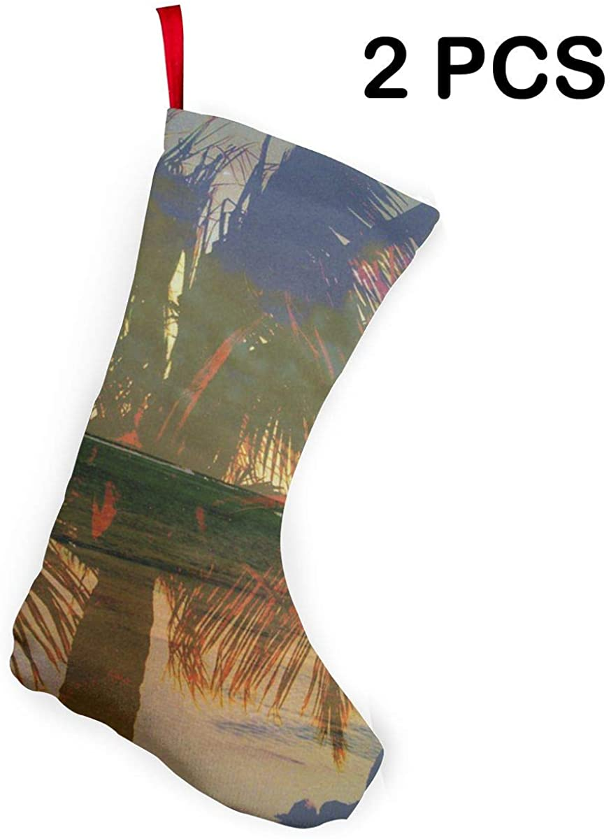 SHARP-Q Palm Tree Christmas Stockings Christmas Decorations Holiday Party Decorations 12 Inch