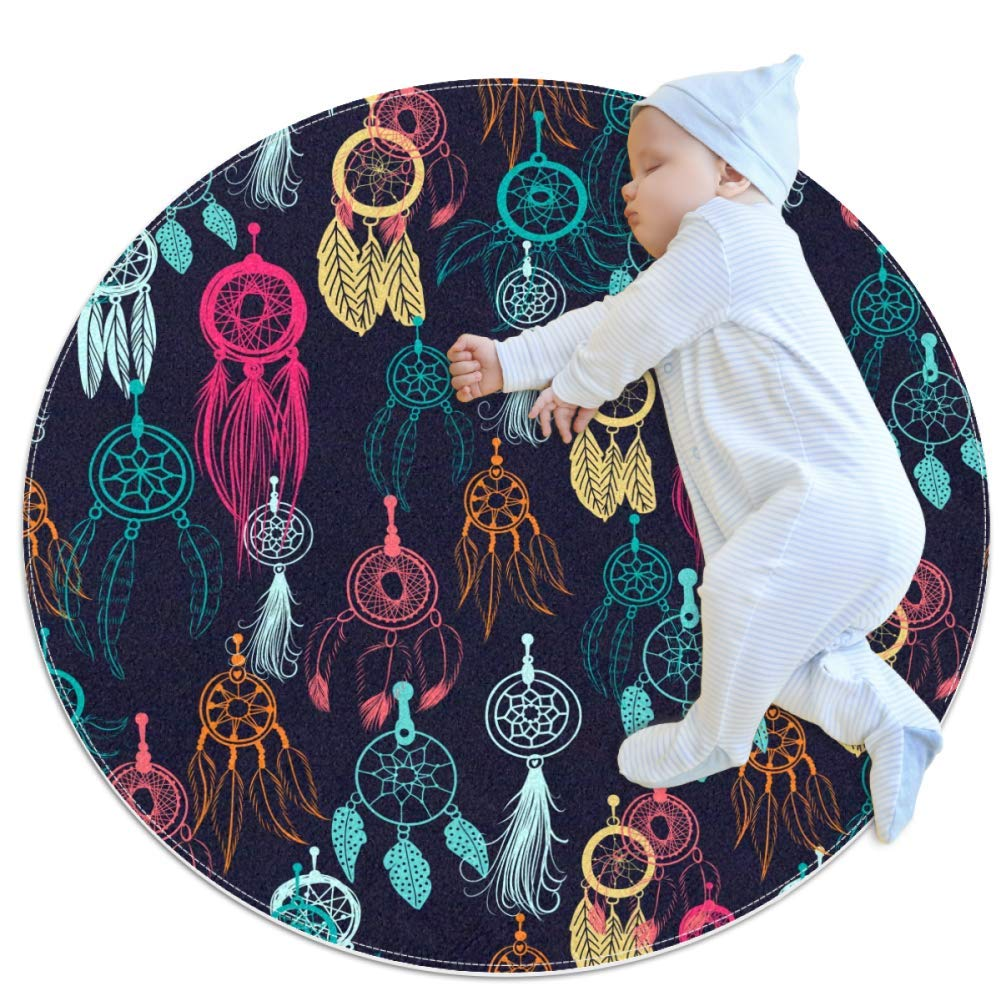 Dreamcatcher Colorful Decorations Nursery Round Rug for Kids Room Soft and Smooth Suede Surface Non-Slip Castle Tent Game Mat Best Gift for Your Kids 3feet 4inch
