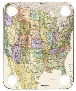 Custom Graphical Guitar Neck Plate Neckplate Map USA 1