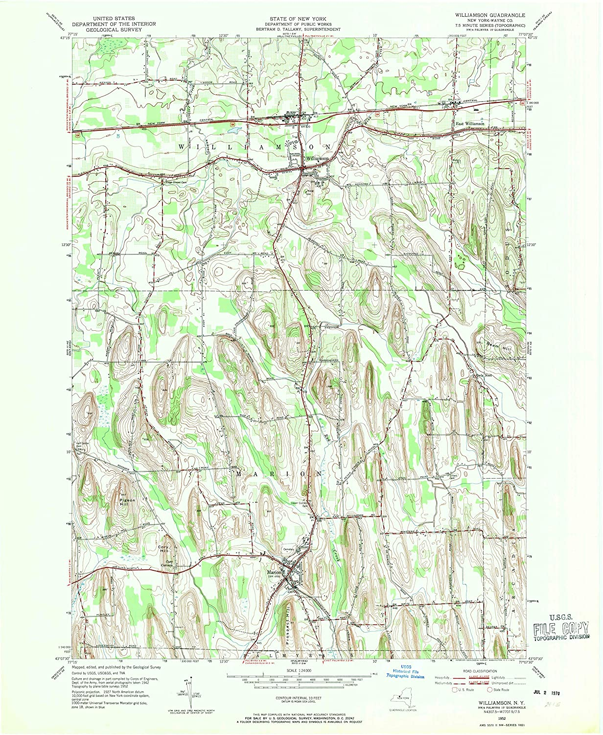 Map Print - Williamson, New York (1952), 1:24000 Scale - 24