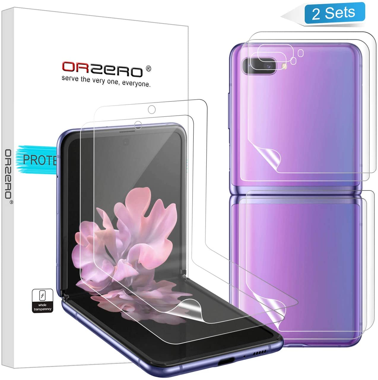 (2 Sets) Orzero Compatible for Samsung Galaxy Z Flip, Samsung Galaxy Z Flip 5G (Premium Quality) Edge to Edge (Full Coverage) Screen Protector, High Definition Anti-Scratch Bubble-Free (Lifetime Replacement)