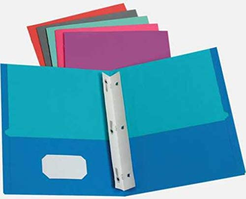 9 x 12 Presentation Folders w/Brads - Assorted Two Tone Pack of 50 (Pack of 150)