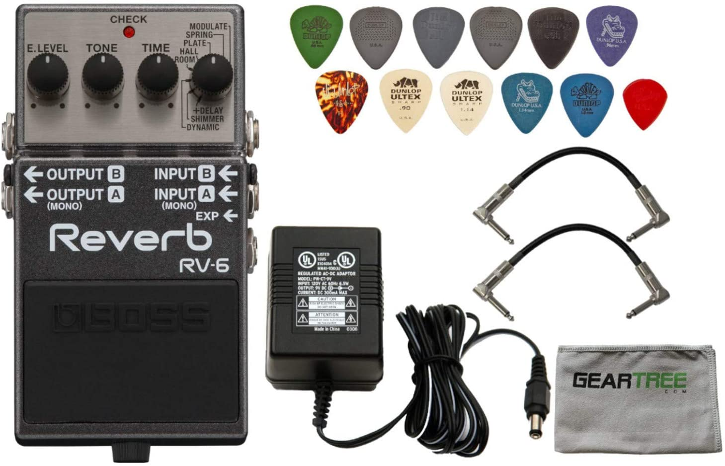 Boss RV-6 Digital Reverb Pedal w/Power Supply, 2 Patch Cables, Pick Pack, Cloth