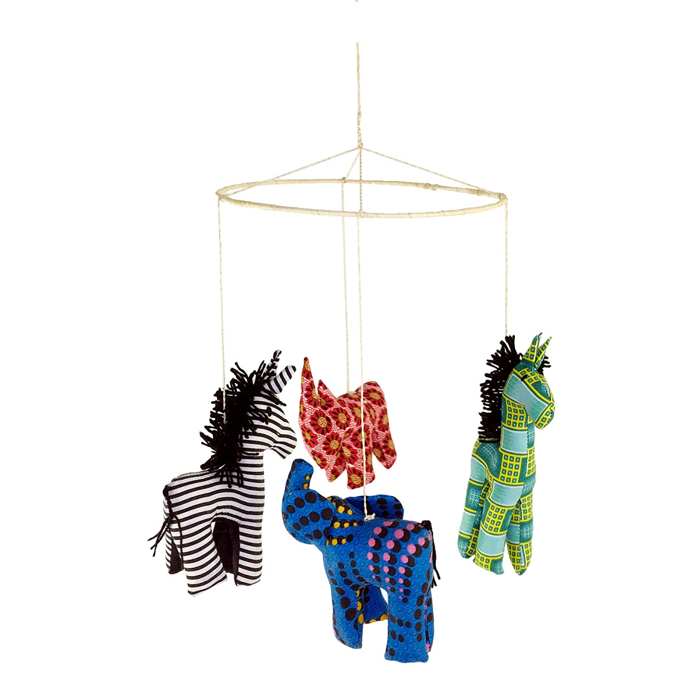 Animals Zoo Safari Nursery Mobile for Baby's Room Crib Decoration Elephant Giraffe Zebra Rhino