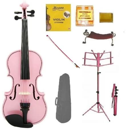 Merano 1/8 Size PINK Acoustic Violin with Case+PINK Stick Bow+Rosin+2 Sets Strings+Tuner+Shoulder Rest+PINK Music Stand