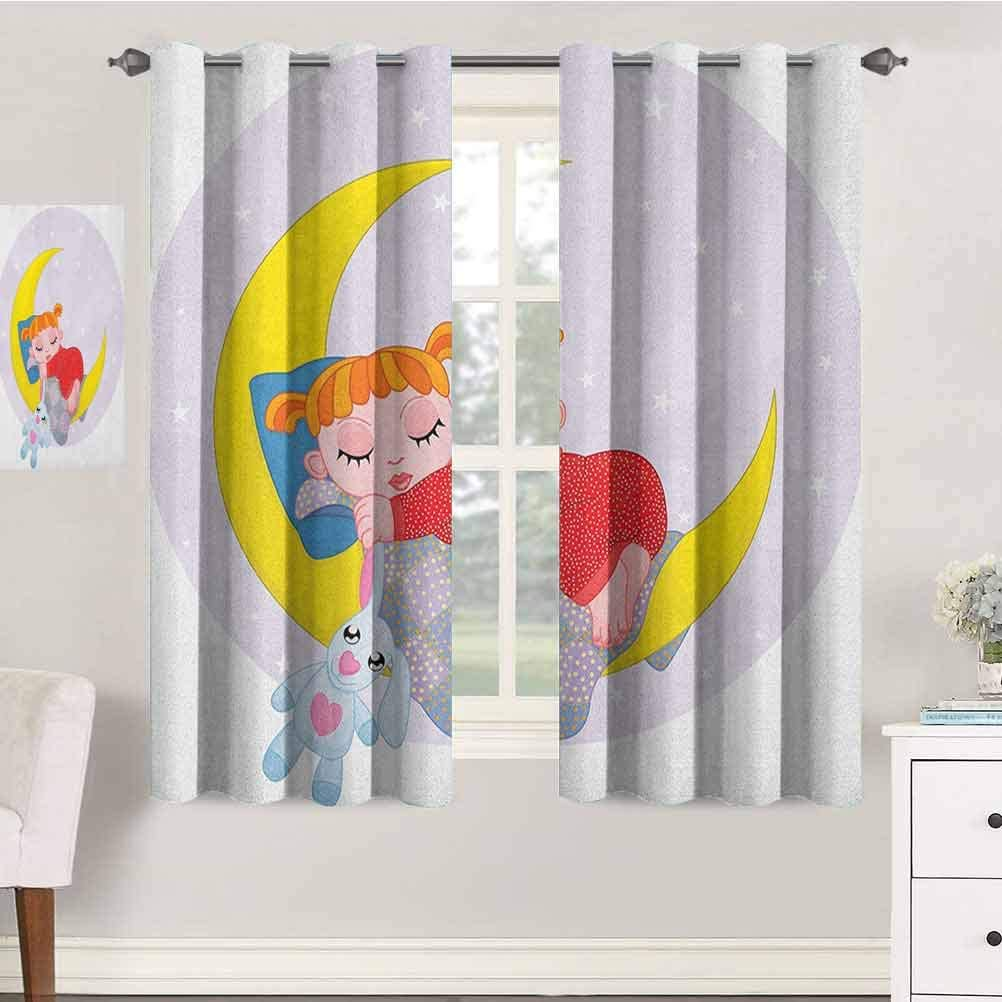 jinguizi Cartoon Nursery/Baby Care Curtains 42X45 Inches Girl on Moon with Her Teddy Bear Sleeping Luna Night Dream Cartoon Artful Indo Treatment Panes
