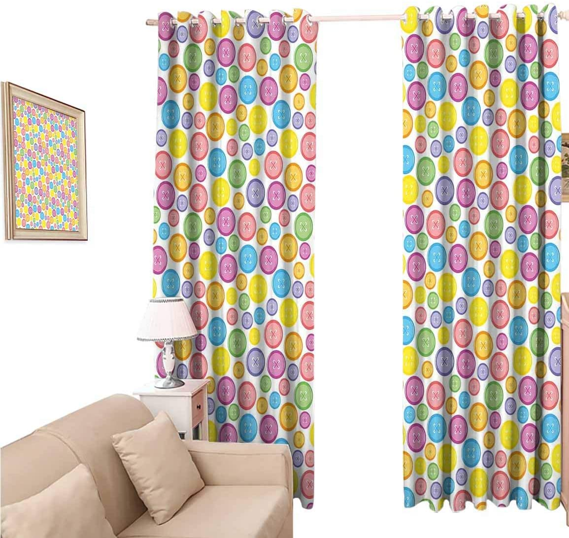 oobon Window Blackout Curtains Fabric, Modern Circular Shaped Buttons in Various Sizes Artistic Kids Nursery Baby, 108 Inches Long for Nursery Room, 96x108 inch