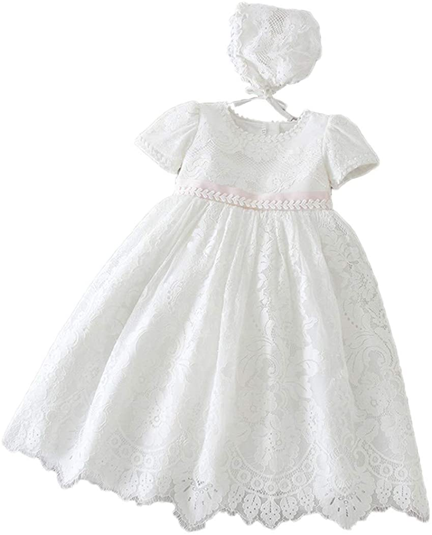 Christening Gown for Baby Girl Soft LaceWhite Floor-Length Back Sash and Lace Bonnet