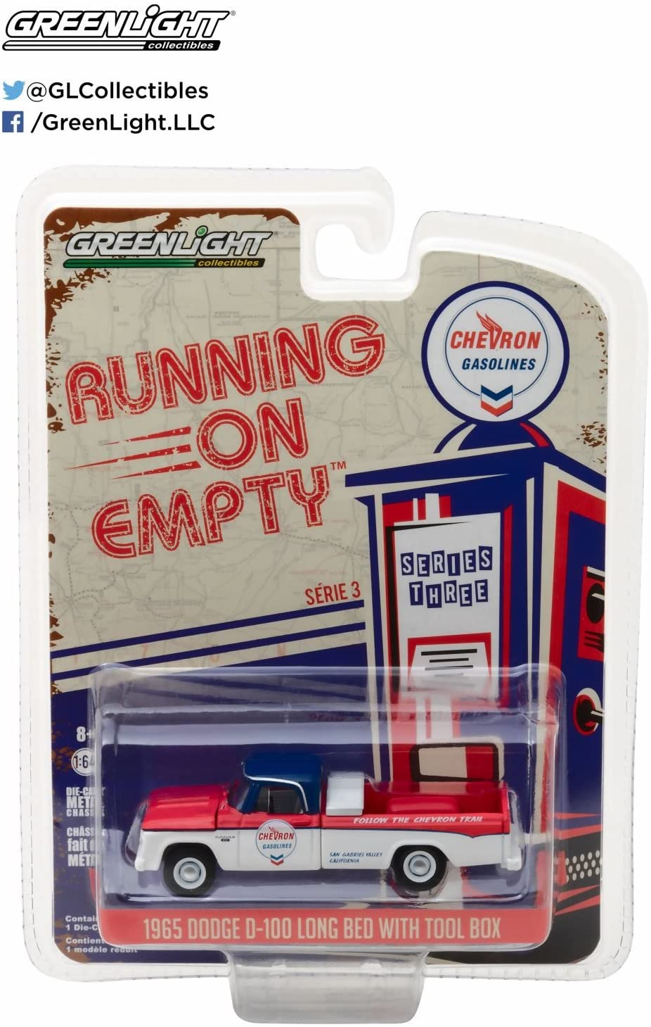 1965 Dodge D-100 Pickup Truck Chevron Long Bed with Tool Box Running on Empty Series 3 1/64 Diecast Model Car by Greenlight 41030 A